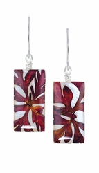 Red Fern on Shell Sml Rect. Earrings