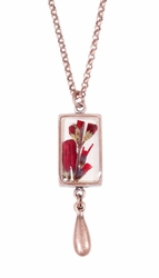 Scarlet Gilia Sm Rect Necklace w/Drop