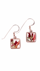 Scarlet Gilia Sm Square Earrings