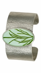 Seagrass on Aqua LG Oval Cuff Bracelet
