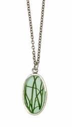 Seagrass on Aqua SM Oval Necklace