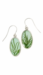 Seagrass on Aqua SM Oval Earrings