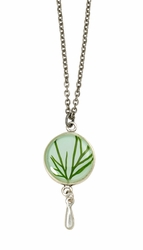 Seagrass on Aqua SM Round Necklace w/Drop
