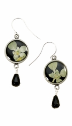Silver Leaf on Licorice Sm Rnd Earrings w/Drop