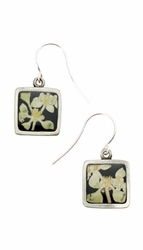 Silver Leaf on Licorice Sm Sq Earrings