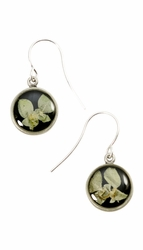 Silver Leaf on Licorice Ultra Sm Rnd Earrings