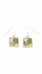 Silver Leaf Small Square Earrings