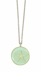Silver Starfish on Aqua MED RND Necklace