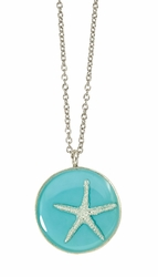 Silver Starfish on Turquoise MED RND Necklace