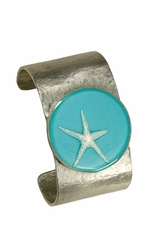 Silver Starfish on Turquoise LG RND Cuff Bracelet