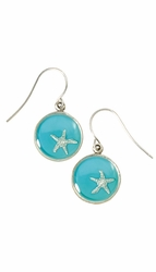 Silver Starfish on Turquoise SM RND Earrings