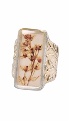 Silver Vine Rectangle Adjustable Ring