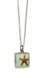Starfish on Aqua SM Square Necklace