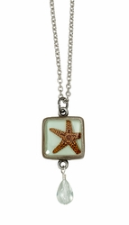 Starfish on Aqua SM Square Necklace w/Drop