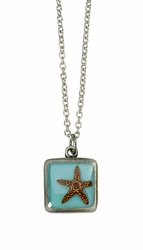 Starfish on Turquoise SM Square Necklace