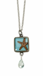 Starfish on Turquoise SM Square Necklace w/Drop