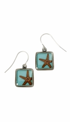 Starfish on Turquoise SM Square Earrings