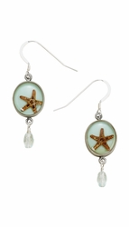 Starfish Small Round Earrings w/Drop