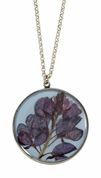 Texas Bluebonnet on Dusk Blue LG RND Necklace