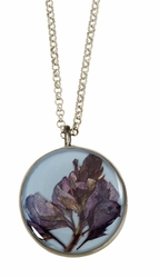 Texas Bluebonnet on Dusk Blue MED RND Necklace