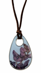Texas Bluebonnet on Dusk Blue Oval Deerskin