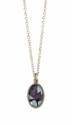 Texas Bluebonnet on Dusk Blue Ultra SM Oval Necklace
