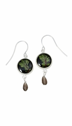 Thyme Brown Mini Riound Earrings w/Drop
