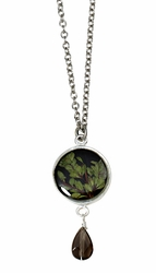 Thyme Brown SM Round Necklace w/Drop