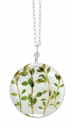 "Thyme Herb on Shell 16"" Lg Rd. Necklace"