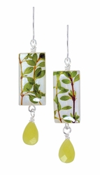 Thyme Herb on Shell Sml Rect. Earrings w/Drop