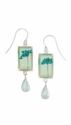 Turquoise QA Seafoam Rect Earrings w/drop