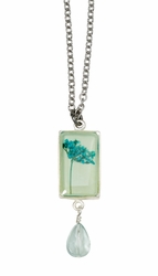Turquoise QA Seafoam Sm Rect Necklace w/drop