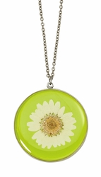 White Daisy LG Round Necklace