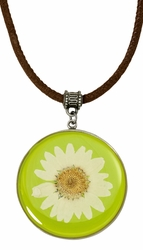 White Daisy LG Round Leather Necklace