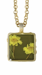"Yellow Achillea 16"" Lg Sq. Necklace"