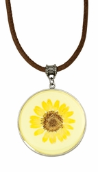 Yellow Daisy LG Round Leather Necklace