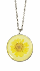 Yellow Daisy MED Round Necklace