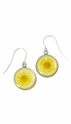 Yellow Daisy SM Round Earrings