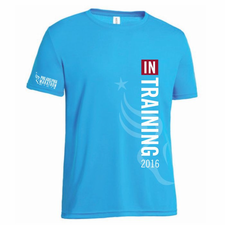Philadelphia Marathon: '2016 In Training' Men's SS Tech Tee - Safety Blue