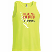 Philadelphia Marathon: '2016 In Training' Men's Sleeveless Tech Tank - Lime Green