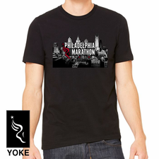 Philadelphia Marathon: 'Aerial' Adult SS Cotton Tee - Black - by Bella®