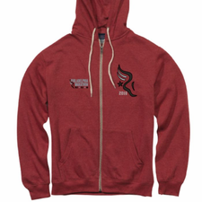 "Philadelphia Marathon: 'Applique' Men's Fleece ""Retro"" Full Zip Hoody - Red Heather - by MV Sport®"