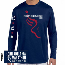 Philadelphia Marathon: 'Bigfoot' Men's LS Tech Tee - Navy - by New Balance®
