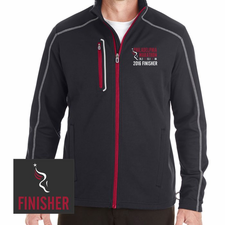 Philadelphia Marathon: 'Emb. Finisher' Men's Full Zip Fleece Jacket - Black / Grey / Carbon Red - by North End® <br><font color=red><b><i>Pre-order: ships in two weeks</i></b></font>