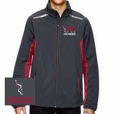 Philadelphia Marathon: 'Emb. Finisher' Men's Full Zip Soft Shell Jacket - Carbon / Olympic Red - by North End® <br><font color=red><b><i>Pre-order: ships in two weeks</i></b></font>