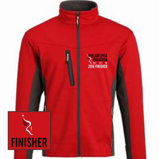 Philadelphia Marathon: 'Emb. Finisher' Men's Full Zip Tech Jacket - Red - by Phantom™ <br><font color=red><b><i>Pre-order: ships in two weeks</i></b></font>