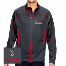 Philadelphia Marathon: 'Emb. Finisher' Men's Two-Tone Full Zip Brush-Back Jacket - Carbon / Olympic Red - by North End® <br><font color=red><b><i>Pre-order: ships in two weeks</i></b></font>