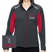 Philadelphia Marathon: 'Emb. Finisher' Women's Full Zip Soft Shell Jacket - Carbon / Olympic Red - by North End® <br><font color=red><b><i>Pre-order: ships in two weeks</i></b></font>
