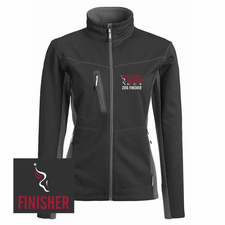 Philadelphia Marathon: 'Emb. Finisher' Women's Full Zip Tech Jacket - Charcoal / Black - by Phantom™ <br><font color=red><b><i>Pre-order: ships in two weeks</i></b></font>