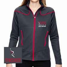 Philadelphia Marathon: 'Emb. Finisher' Women's Two-Tone Full Zip Brush-Back Jacket - Carbon / Olympic Red - by North End® <br><font color=red><b><i>Pre-order: ships in two weeks</i></b></font>